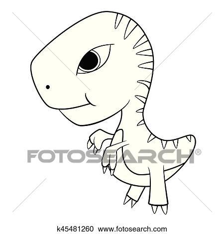 Illustration Of Cute Cartoon Of Green Baby T Rex Dinosaur Clipart