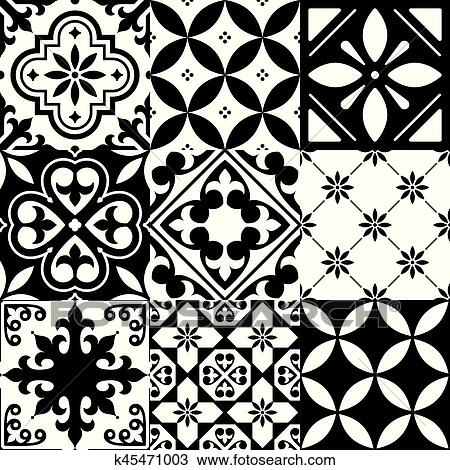 Clipart of Spanish tiles Moroccan tiles design seamless black Delectable Pattern In Spanish