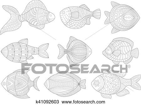 - Tropical Fish Set Adult Zentangle Coloring Book Illustration Clipart  K41092603 Fotosearch