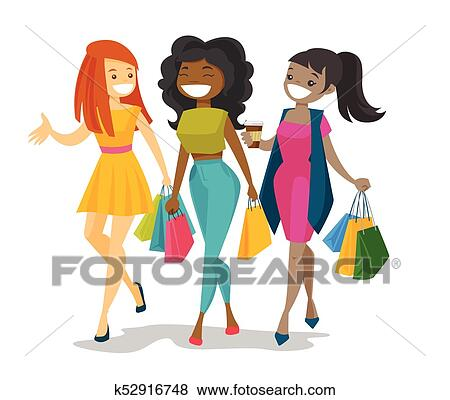 clip art of young happy multicultural women shopping together rh fotosearch com clipart of women earrings clipart of women in church