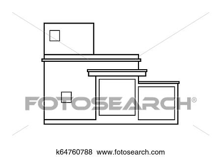 Abstract Outline Drawing Modern House Or Building Square Shape Vector Illustration Clip Art