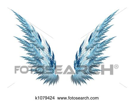 Dessins ange bleu ailes fond blanc k1079424 - Ailes d ange dessin ...