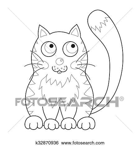 Clip Art - caricatura, sonriente, apacible, gatito, con, rayas ...