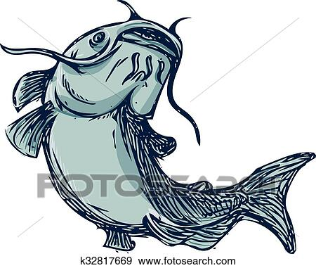 clip art of catfish mud cat jumping up drawing k32817669 search rh fotosearch com catfish clipart vector catfish clipart images