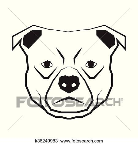 Dog Face Black And White Drawing Contour Clipart K36249983 Fotosearch