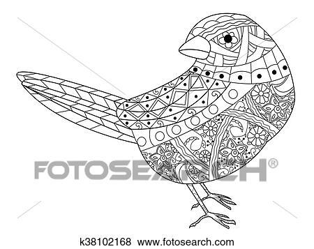 Clip Art - gorrión, libro colorear, vector, para, adultos k38102168 ...