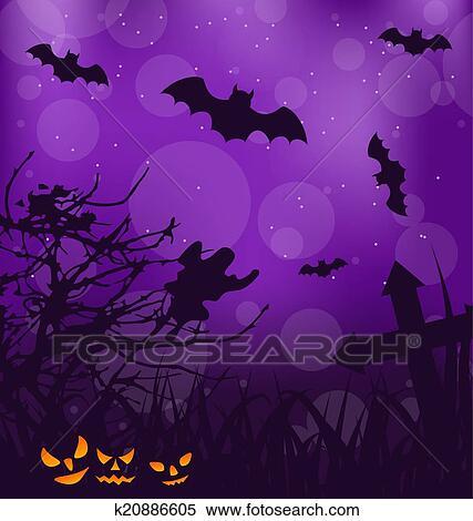 Halloween Inquiétant Fond à Potirons Chauves Souris Fantôme Clipart