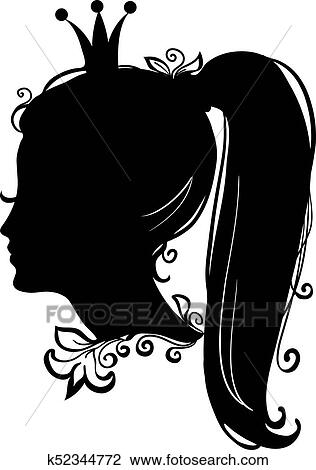 clipart of profile of a princess or queen vector silhouette