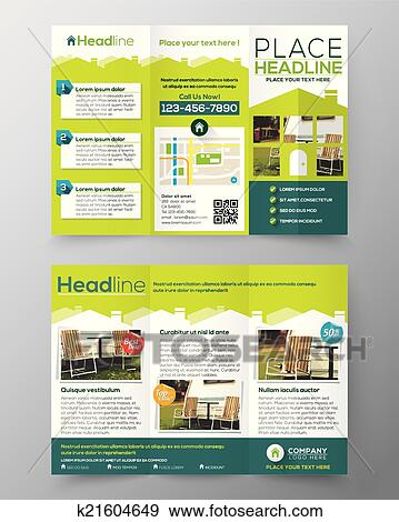 clip art of real estate brochure flyer design vector template in a4