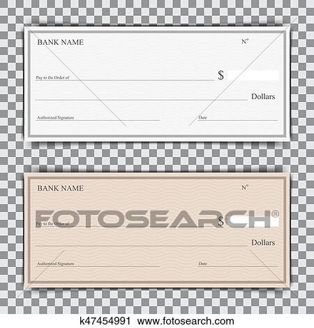 Set Of Blank Bank Check With Shadow On A Transparent Background