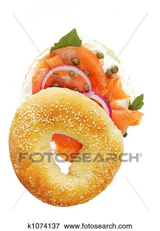 smoked salmon bagel picture rh fotosearch com Bagel Cartoon Coffee and Bagels Clip Art