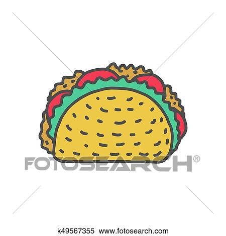 Taco Drawing Isolated Mexican Fast Food Food From Mexico Tacos Clipart K49567355 Fotosearch