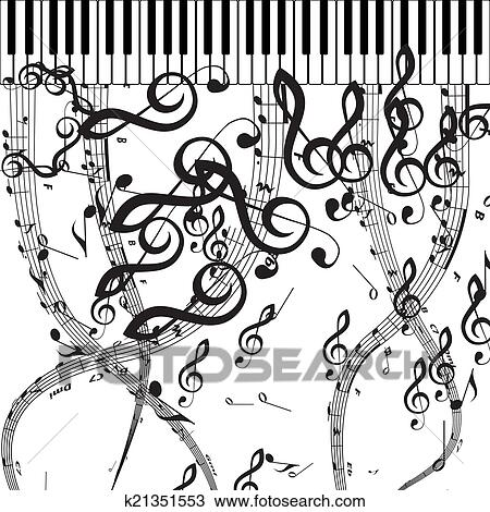 Clipart Of Vector Piano Keys With Musical Symbols K21351553 Search