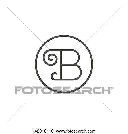 clipart vindima sinal de letra b em um linha reta logotipo