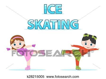 アイススケート 女の子 クリップアート切り張りイラスト絵画集