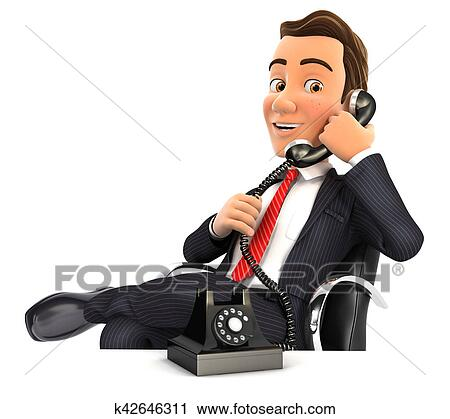 clipart of 3d businessman making a phone call k42646311 search rh fotosearch com Phone Service Call Center Clip Art Call Center Clip Art