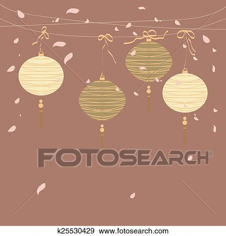 Clip Art Of Chinese Lantern Background K25530429