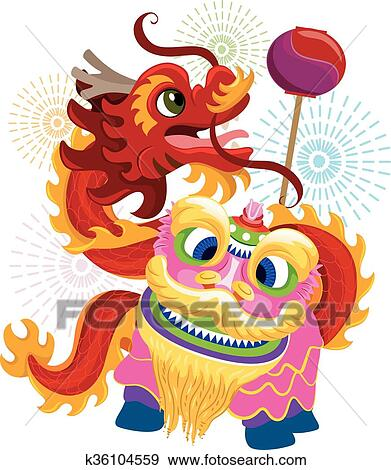 clip art chinese new year lion dragon dance fotosearch search clipart illustration