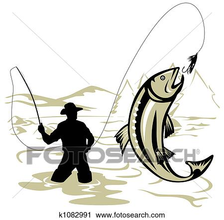 clipart of fly fishing k1082991 search clip art illustration rh fotosearch com fly fishing pictures clip art fly fishing clip art silhouette