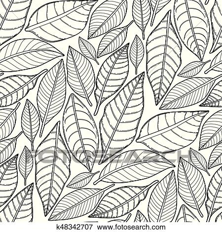 Graphic Leaves Pattern Clip Art K48342707 Fotosearch