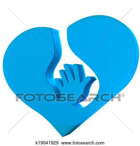 Stock Illustration Of Hand Heart Symbol Protection Logo K19041929