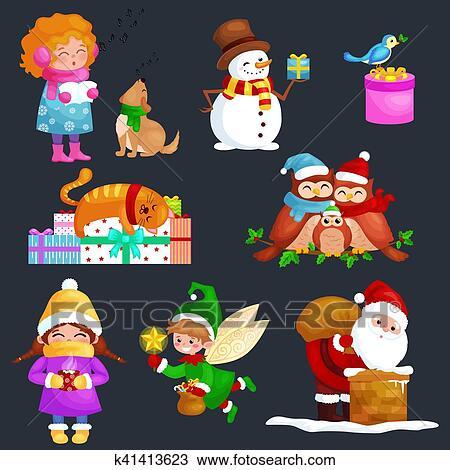 Chanson Un Joyeux Noel.Illustrations Ensemble Joyeux Noel Bonne Annee Girl Chanter Vacances Chansons A Animaux Familiers Bonhomme De Neige Dons Chat Et Chien