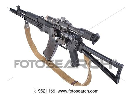 Ak 105 stock image of modern assault rifle ak105 with optical sight on