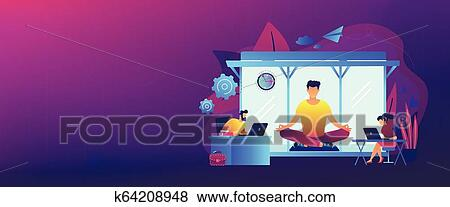 Office Meditation Booth Concept Banner Header Clip Art K64208948 Fotosearch
