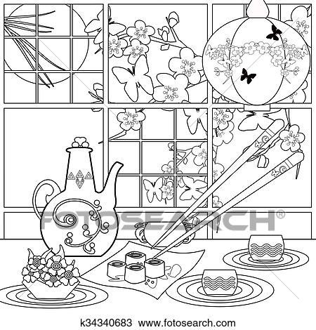 Dibujo - plano de fondo, con, sushi, y, flowers., patrón, para, menú ...