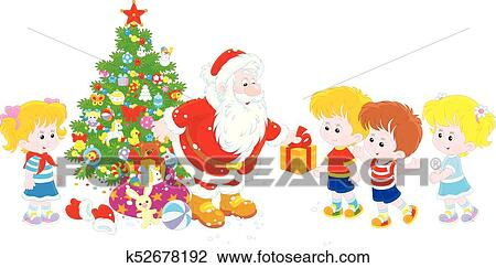 Christmas Giving Clipart.Santa With Gifts For Children Clipart
