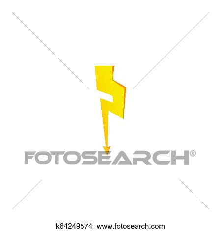 Simple Yellow Thunderbolt Icon Thunder Bolt And High Voltage Sign Clipart K64249574 Fotosearch