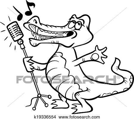 Clipart - singen, krokodil, färbung, seite k19336554 - Suche Clip ...