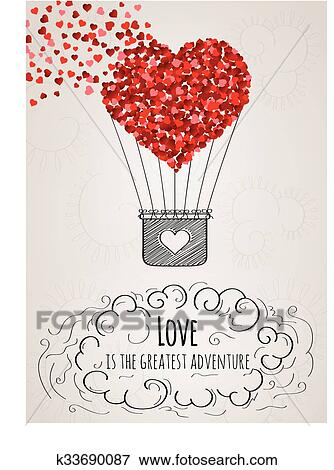 Valentine Card With A Heart Shaped Hot Air Balloon And A