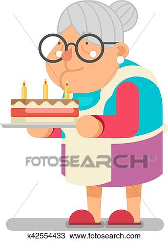 Clipart Backen Hoflich Kuchen Haushalt Oma Alte Dame Zeichen