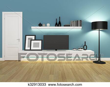 Disegno blu soggiorno con tv stare in piedi e k