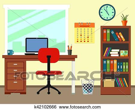 Clipart Bureau Affaires Ou Maison Lieu Travail K42102666