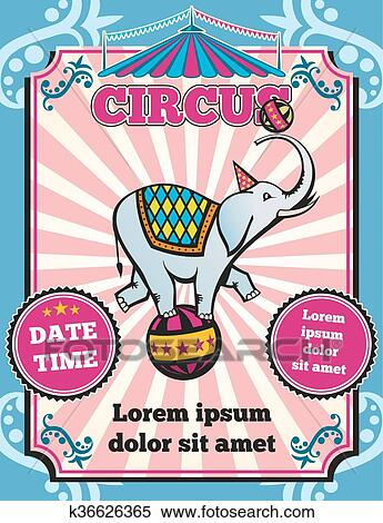 clipart of circus carnival color vintage vector template k36626365
