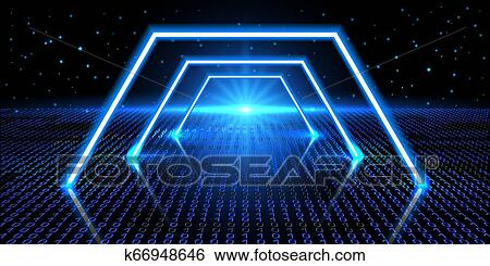 Cosmic background with fantastic hyperspace, neon arch and space portal into another dimension. Virtual reality fantastic landscape with binary code.