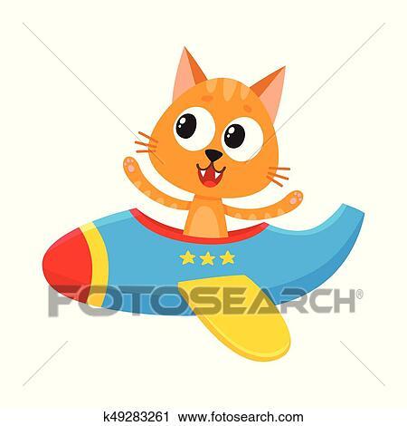 Clipart divertente gatto gattino pilota carattere for Gatto clipart