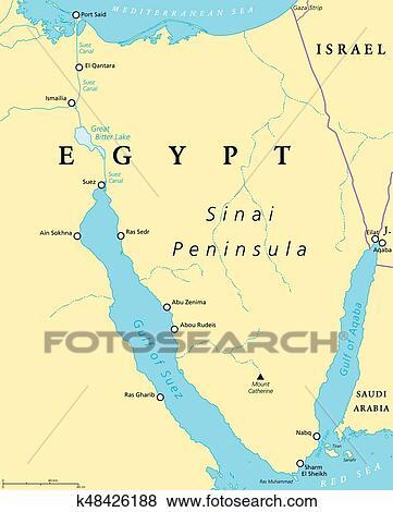 Carte Afrique Egypte.Egypte Peninsule Sinai Politique Carte Clipart