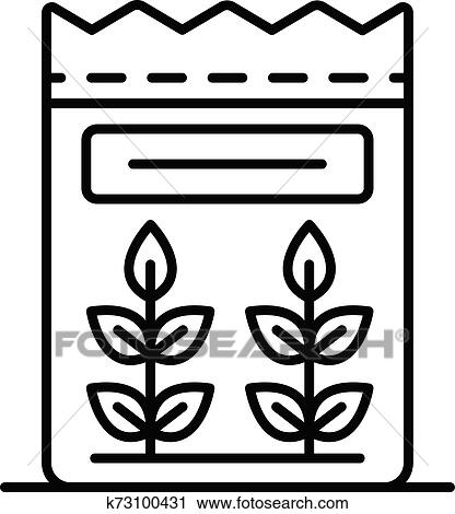 flour icon outline style clipart k73100431 fotosearch fotosearch