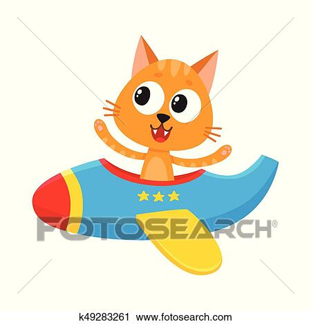 Funny Cat Kitten Pilot Character Flying On Airplane Cartoon Illustration Clipart K49283261 Fotosearch