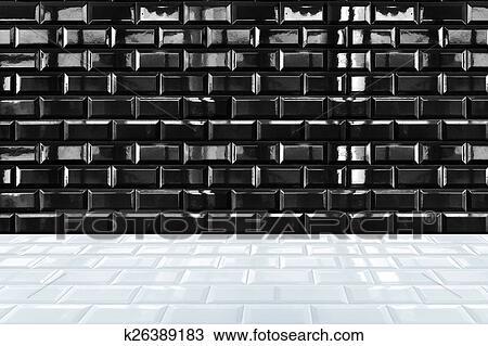 Glossy White Ceramic Brick Tile Wall And Black Tile Floor Stock Image