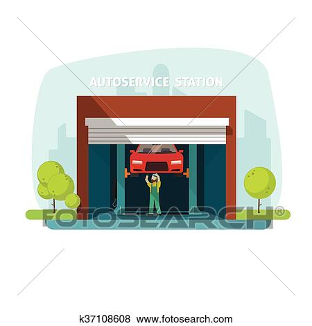 clipart r paration voiture aide garage service automatique centre m canicien. Black Bedroom Furniture Sets. Home Design Ideas