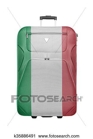 4e1ed22ece301a Archivio Immagini - valigia, con, bandiera italia, isolated., t. Fotosearch