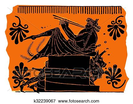 Stock Illustration Of Ancient Greek Vase Painting Flute Player
