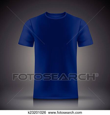 Blue T Shirt Template Isolated On Black Background