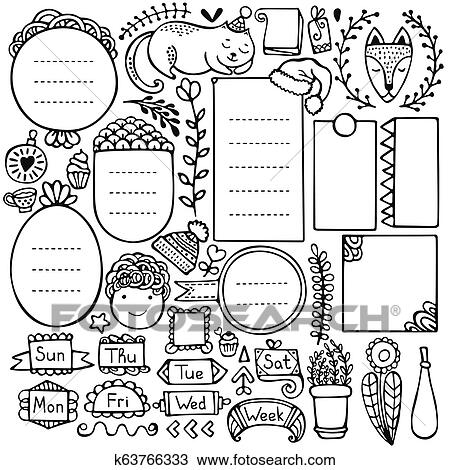 Bullet Journal And Christmas Doodle Vector Elements Clipart