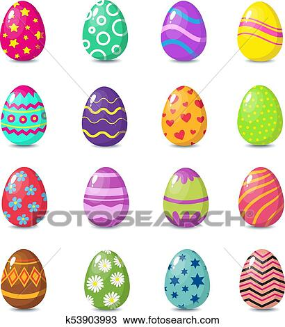 clipart of cartoon colorful easter eggs with floral patterns
