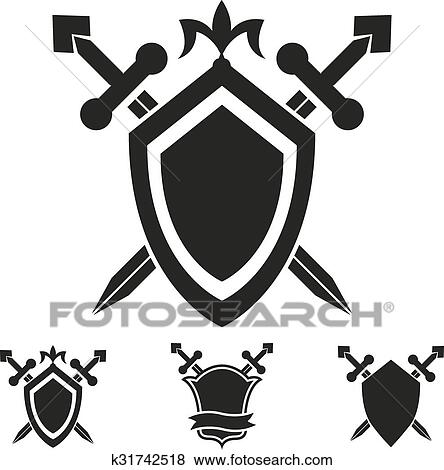 Clip Art Of Coat Of Arms Knight Shield Templates K31742518 Search